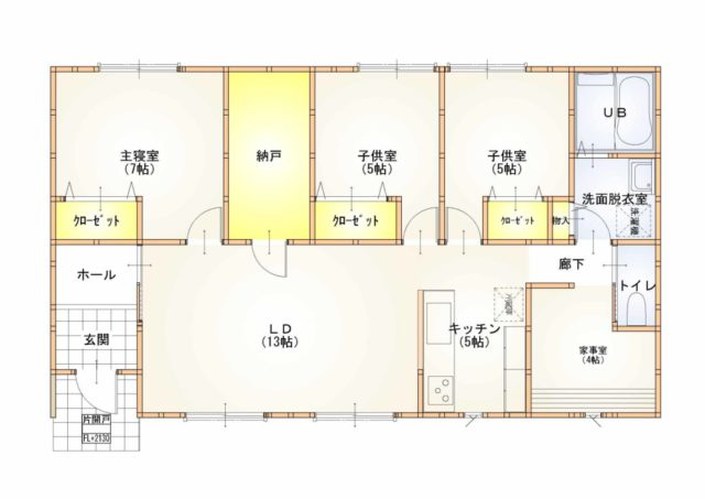家事室、大型納戸がある平屋 27.5坪